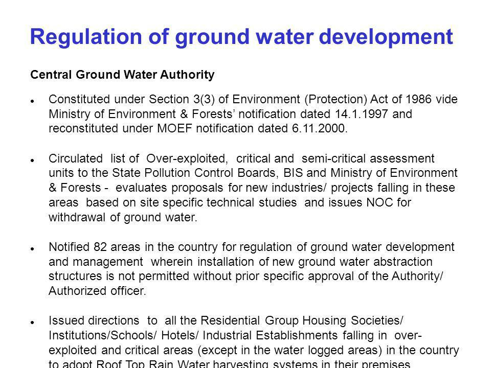 Regulation of ground water development