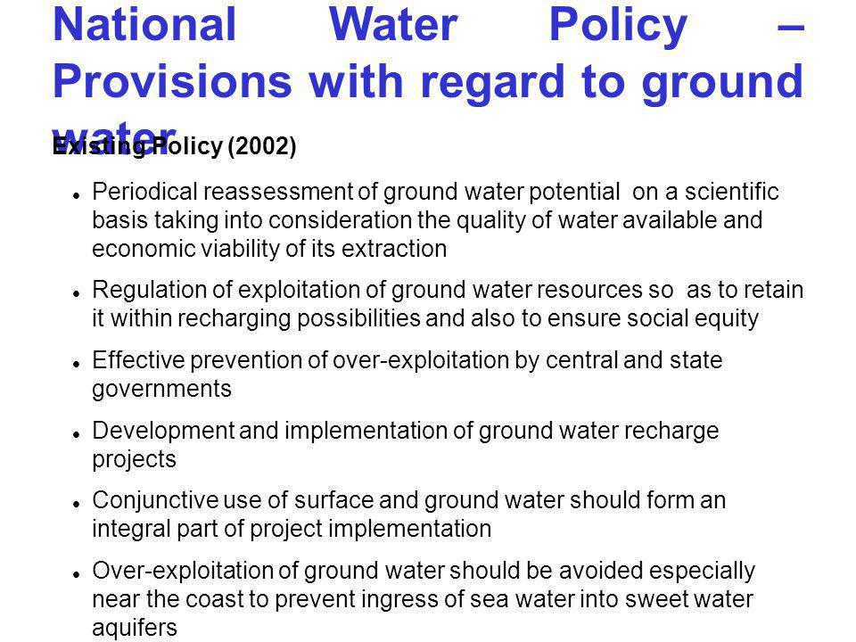 National Water Policy – Provisions with regard to ground water