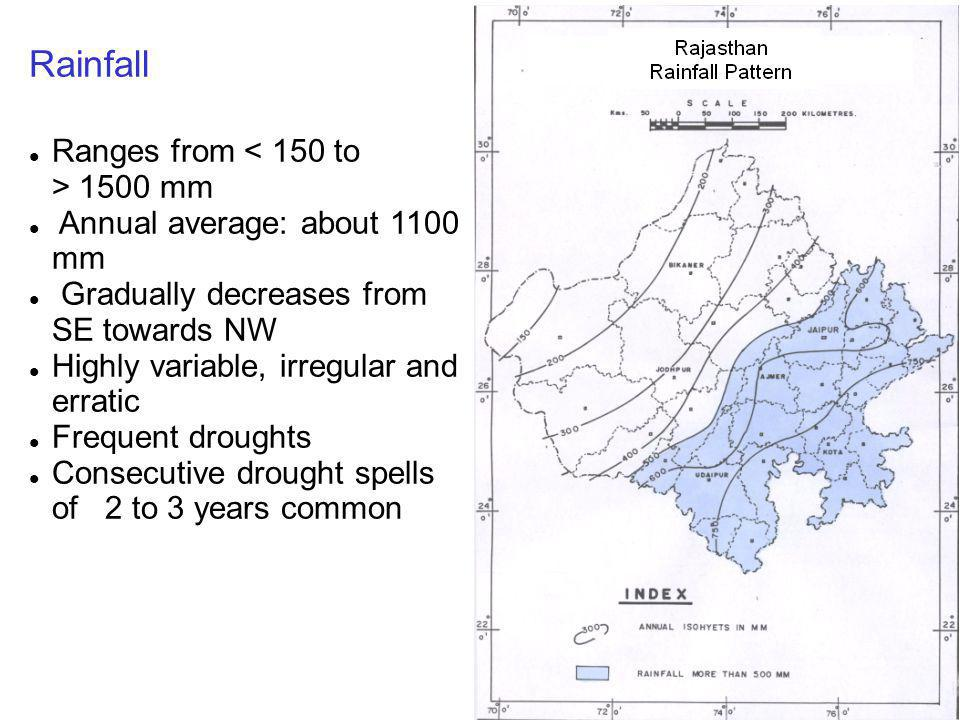 Rainfall Ranges from < 150 to > 1500 mm