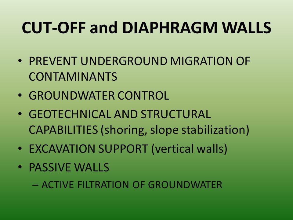 CUT-OFF and DIAPHRAGM WALLS