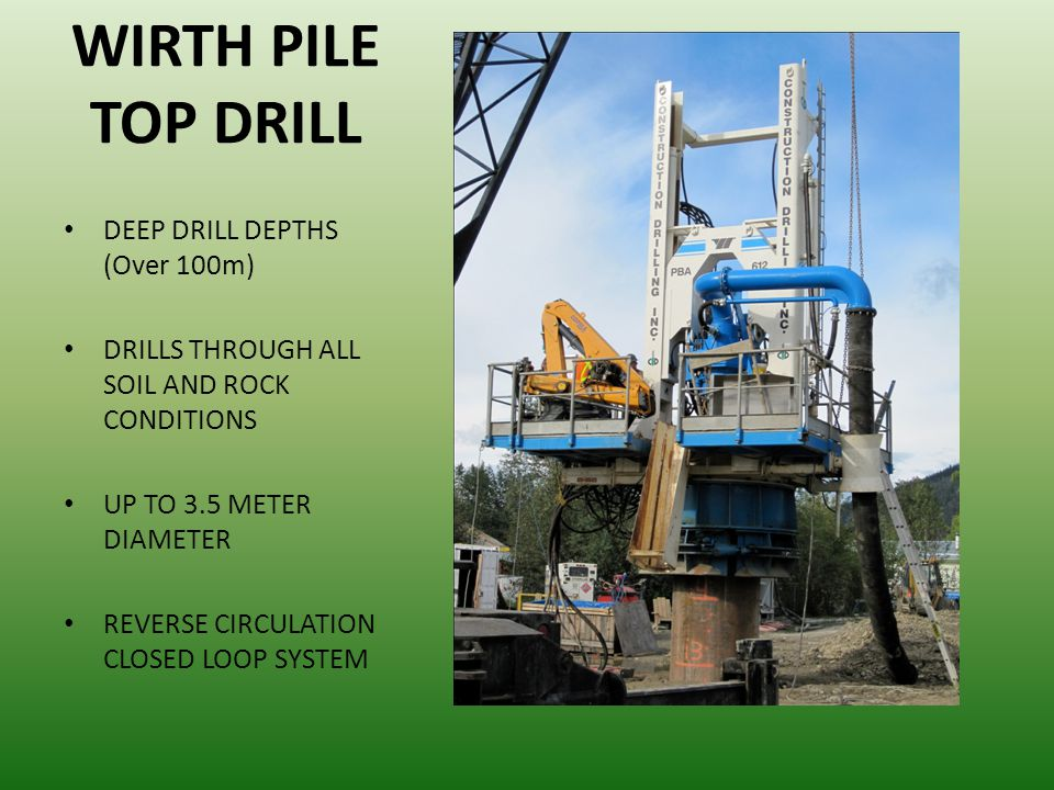 WIRTH PILE TOP DRILL DEEP DRILL DEPTHS (Over 100m)