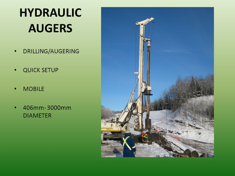 HYDRAULIC AUGERS DRILLING/AUGERING QUICK SETUP MOBILE