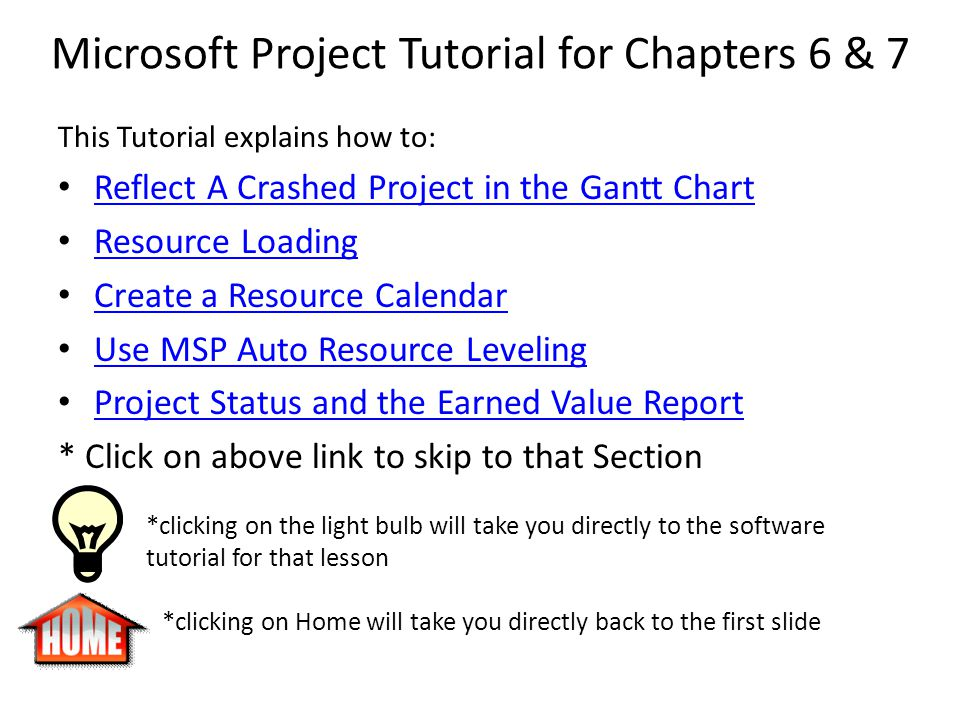 Microsoft Project Tutorial for Chapters 6 & 7