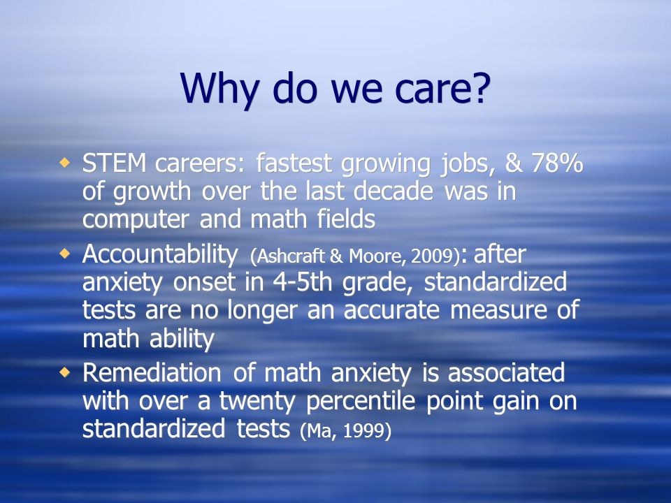 Why do we care STEM careers: fastest growing jobs, & 78% of growth over the last decade was in computer and math fields.