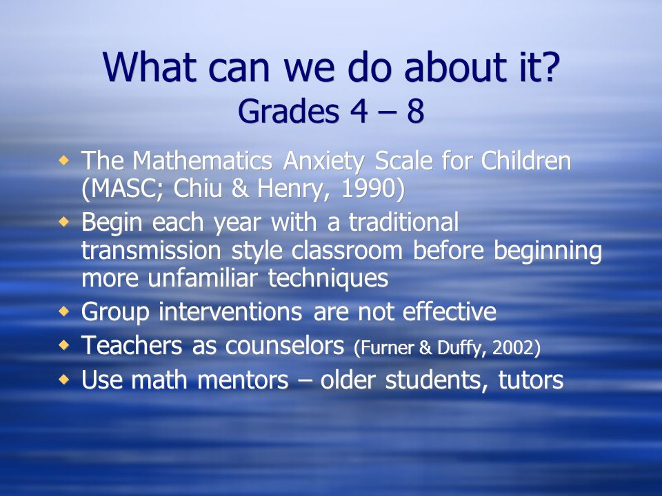 What can we do about it Grades 4 – 8