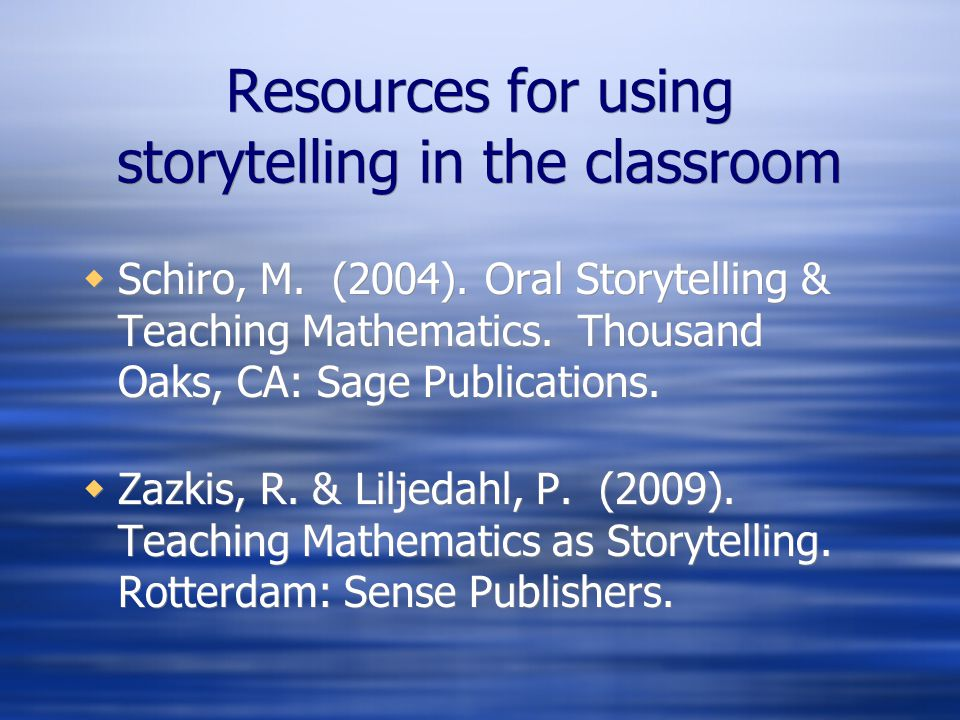 Resources for using storytelling in the classroom
