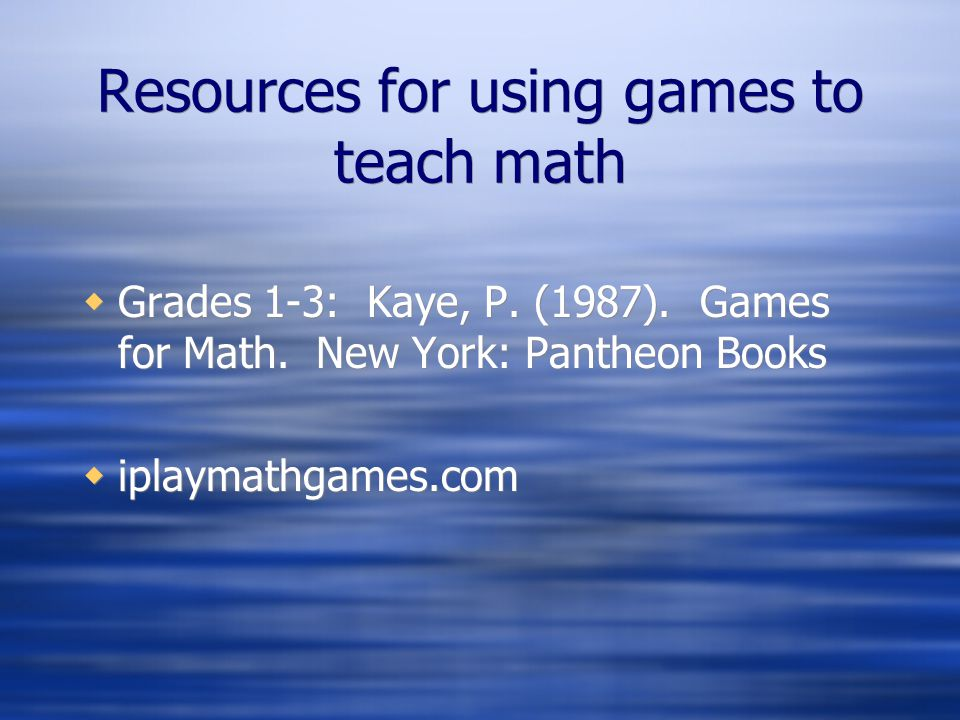 Resources for using games to teach math