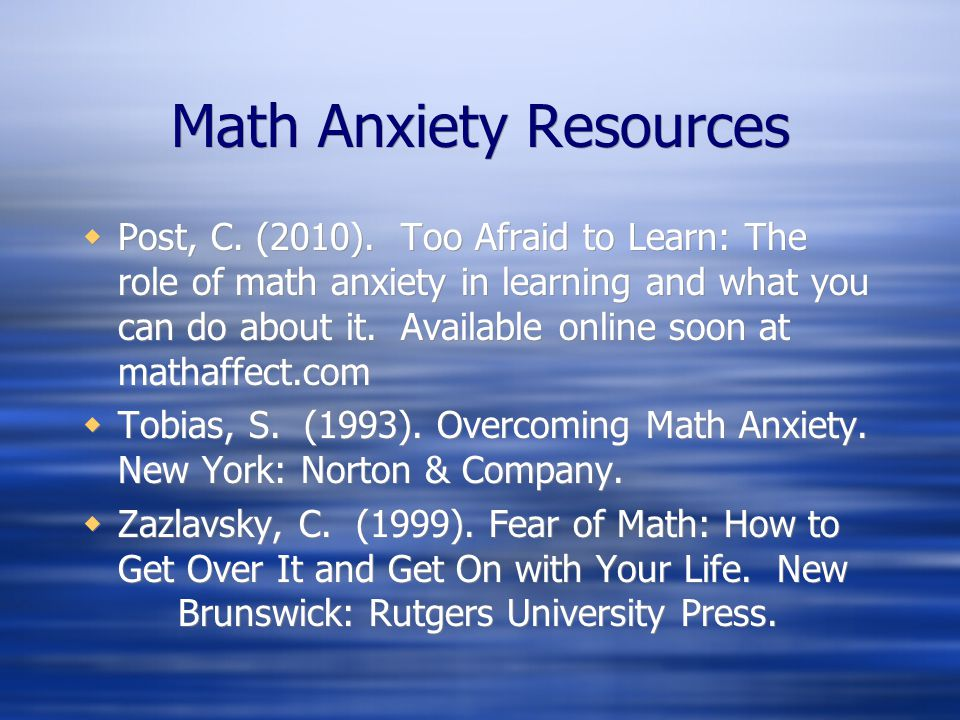 Math Anxiety Resources