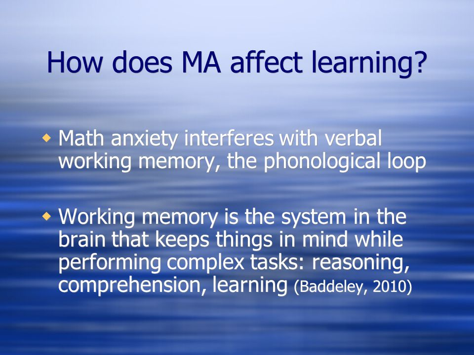 How does MA affect learning