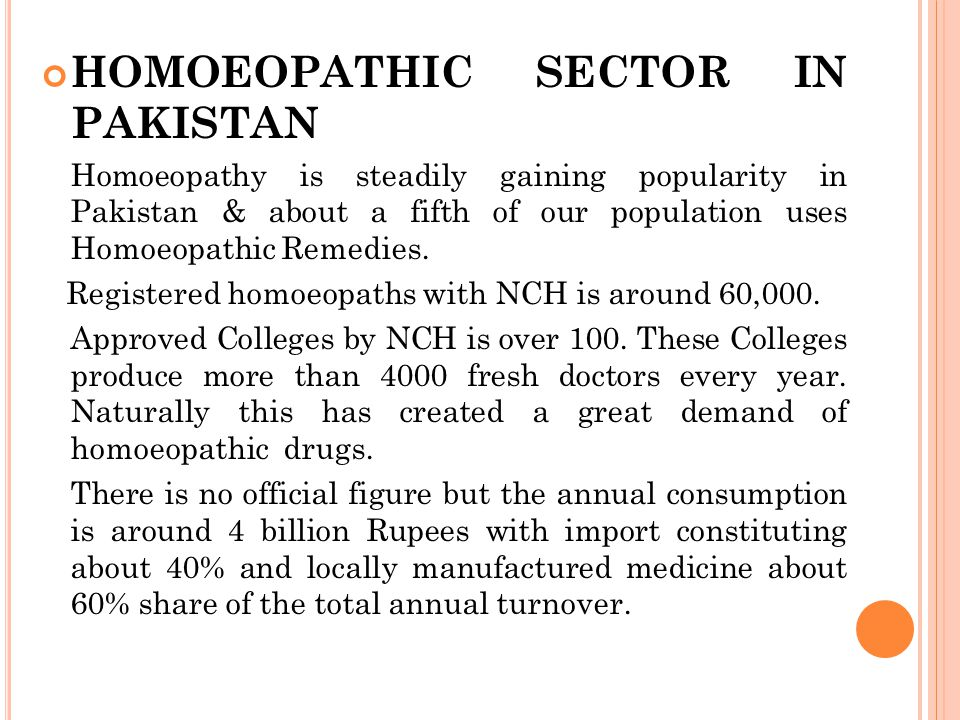 HOMOEOPATHIC SECTOR IN PAKISTAN