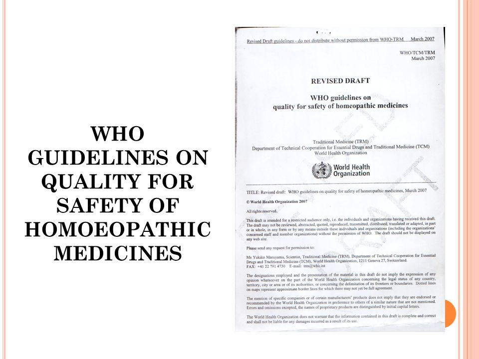 WHO GUIDELINES ON QUALITY FOR SAFETY OF HOMOEOPATHIC MEDICINES