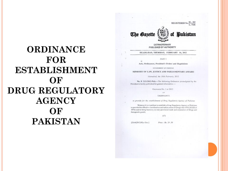 ORDINANCE FOR ESTABLISHMENT OF DRUG REGULATORY AGENCY OF PAKISTAN