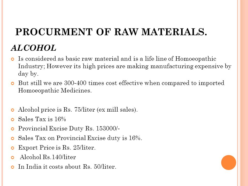 PROCURMENT OF RAW MATERIALS.