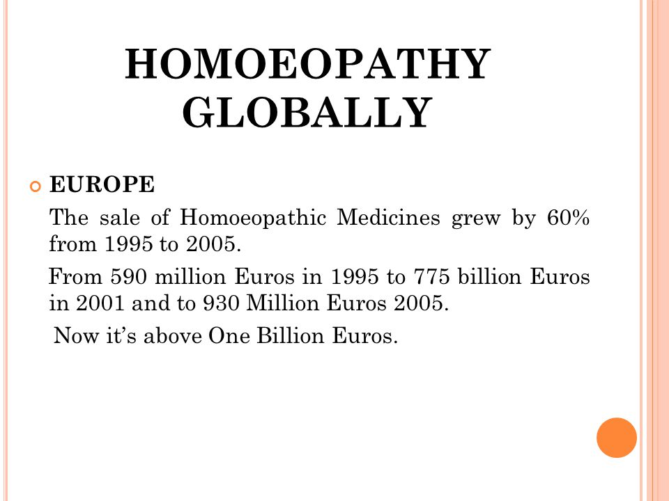 HOMOEOPATHY GLOBALLY EUROPE