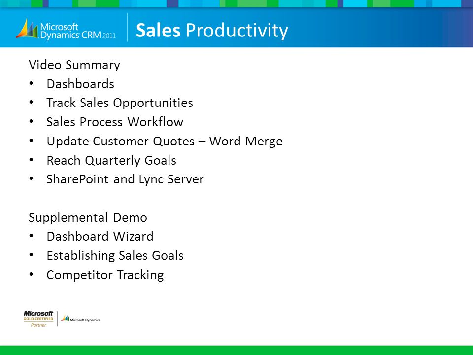Sales Productivity Video Summary Dashboards Track Sales Opportunities