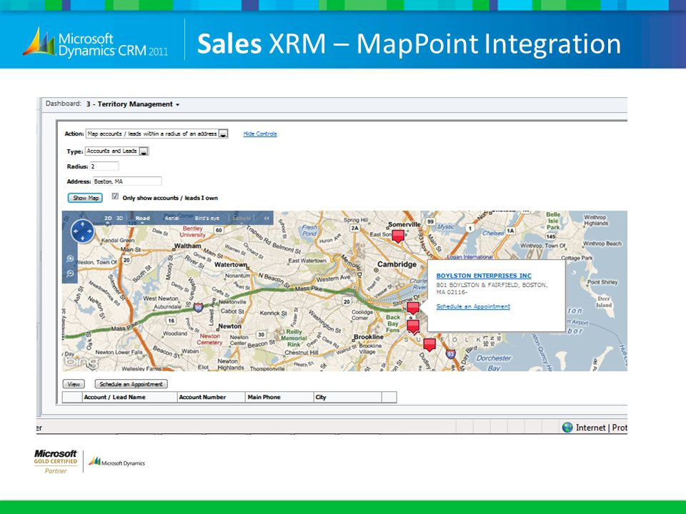 Sales XRM – MapPoint Integration
