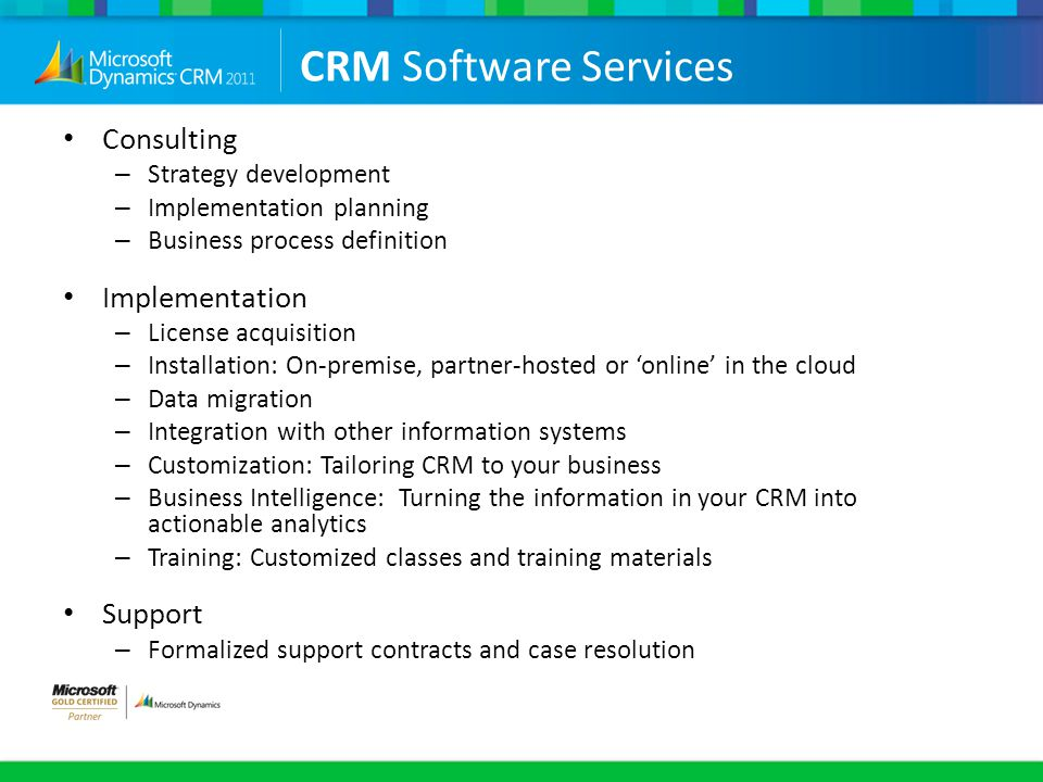 CRM Software Services Consulting Implementation Support