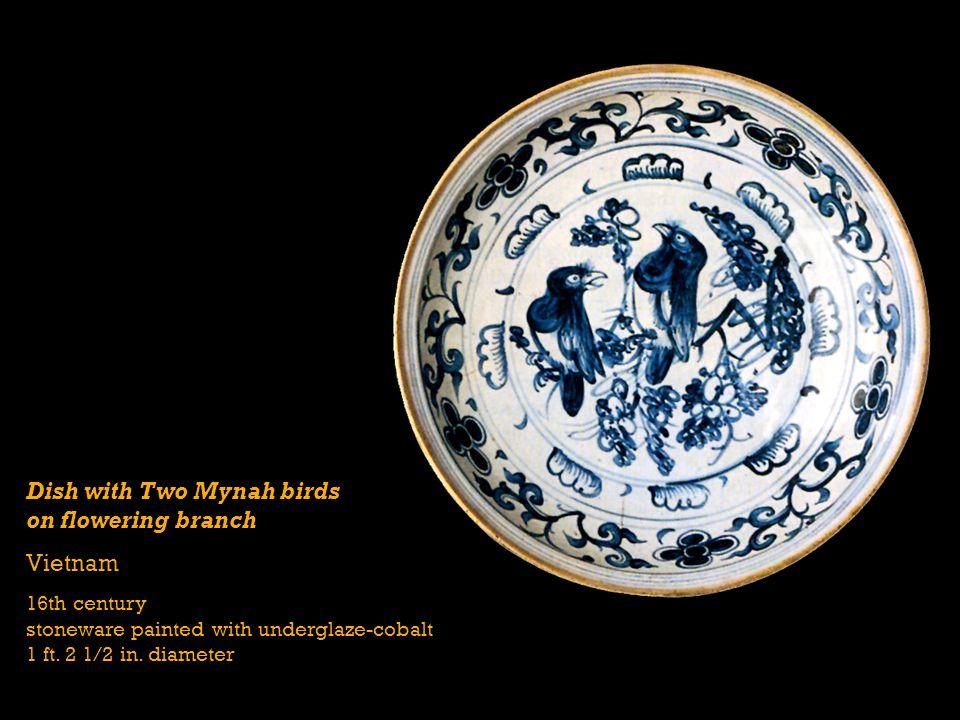 Dish with Two Mynah birds on flowering branch Vietnam