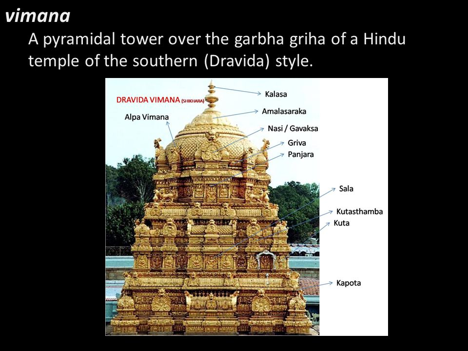 vimana A pyramidal tower over the garbha griha of a Hindu temple of the southern (Dravida) style.