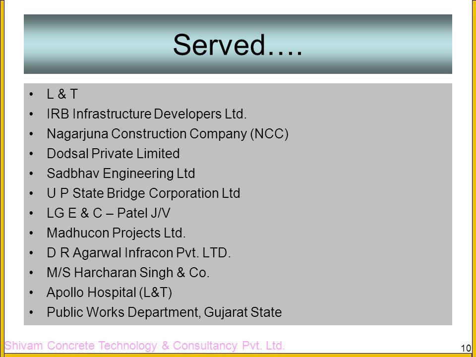 Served…. L & T IRB Infrastructure Developers Ltd.