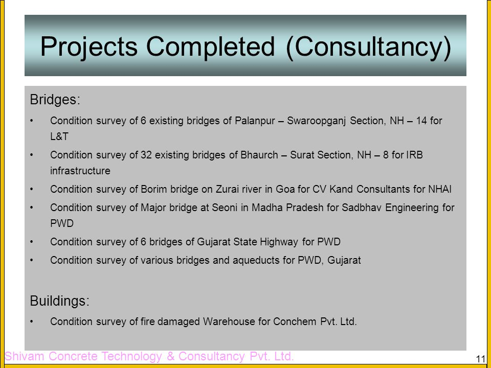 Projects Completed (Consultancy)