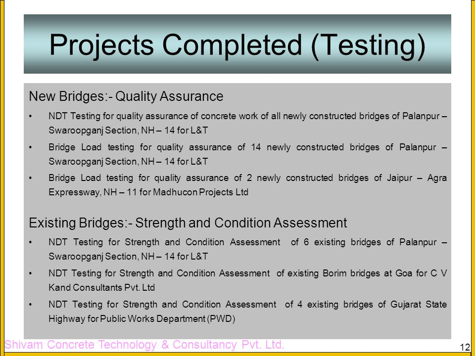 Projects Completed (Testing)