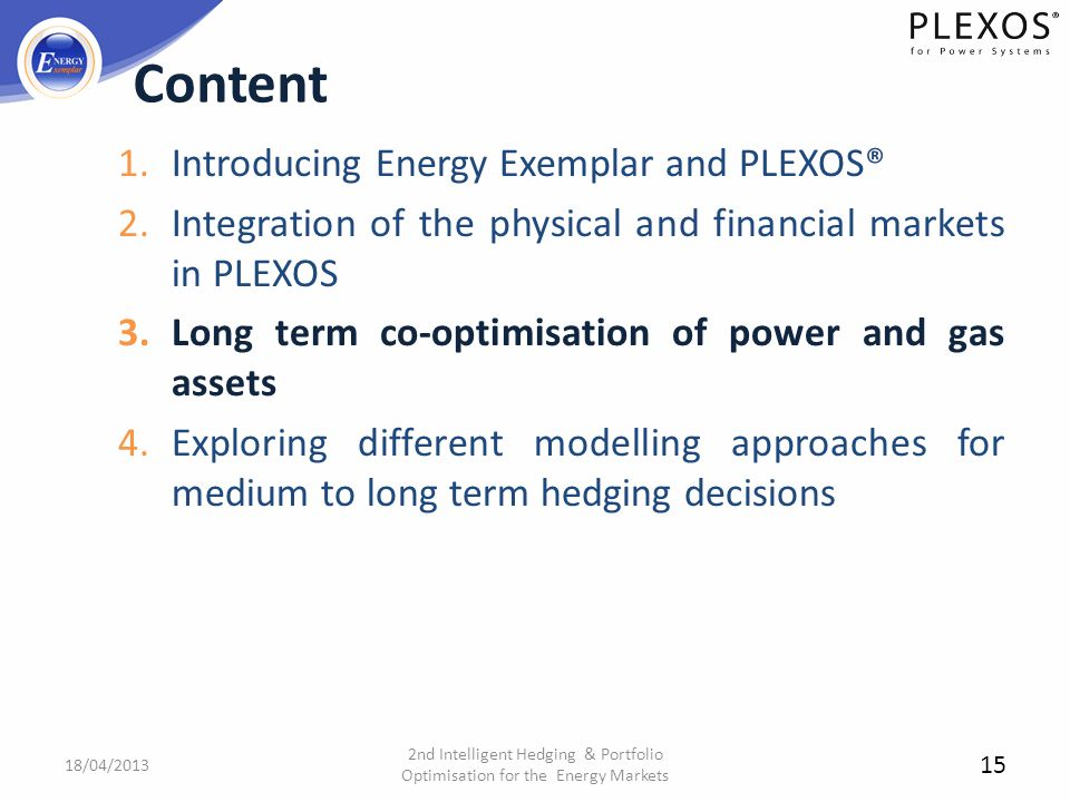 Content Introducing Energy Exemplar and PLEXOS®