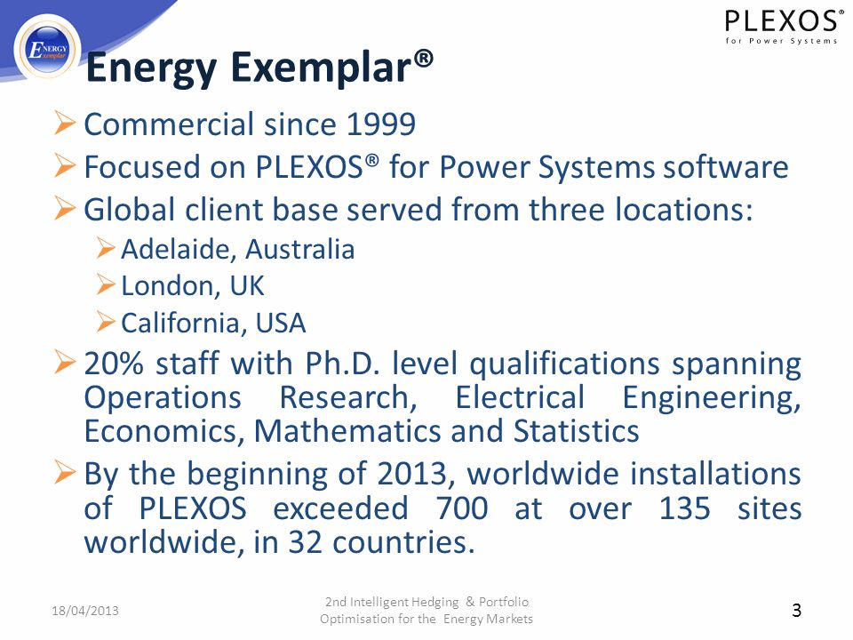 Energy Exemplar® Commercial since 1999