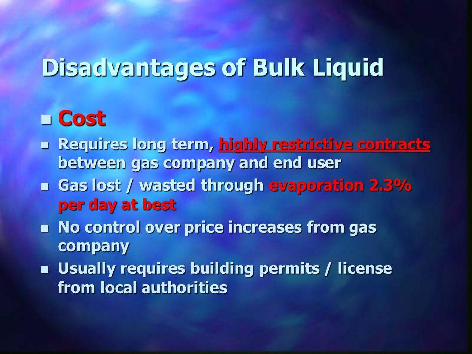 Disadvantages of Bulk Liquid