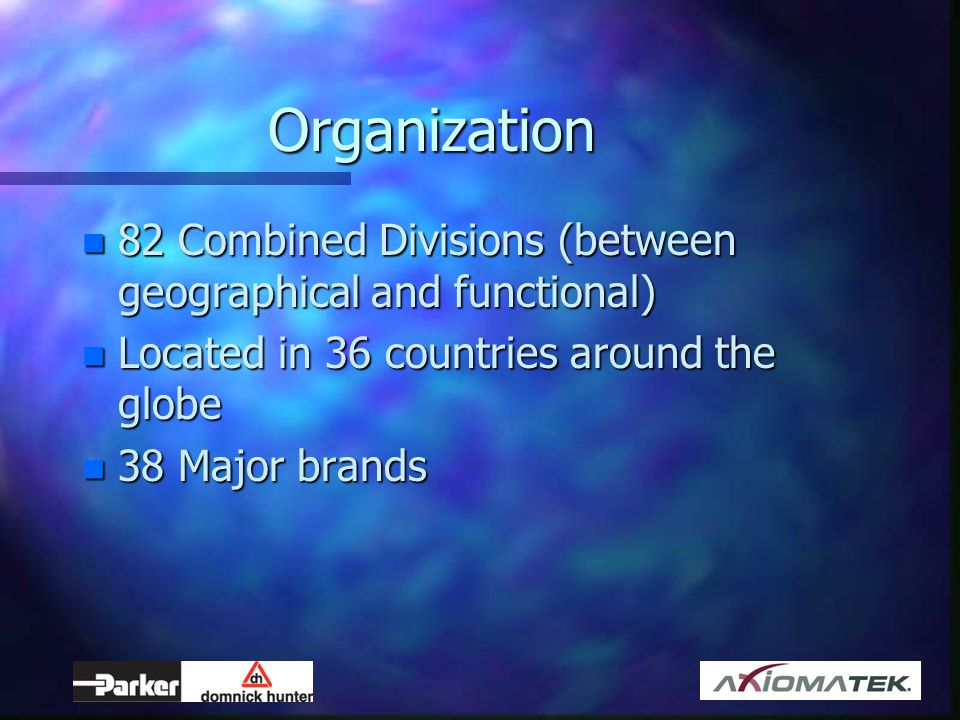 Organization 82 Combined Divisions (between geographical and functional) Located in 36 countries around the globe.