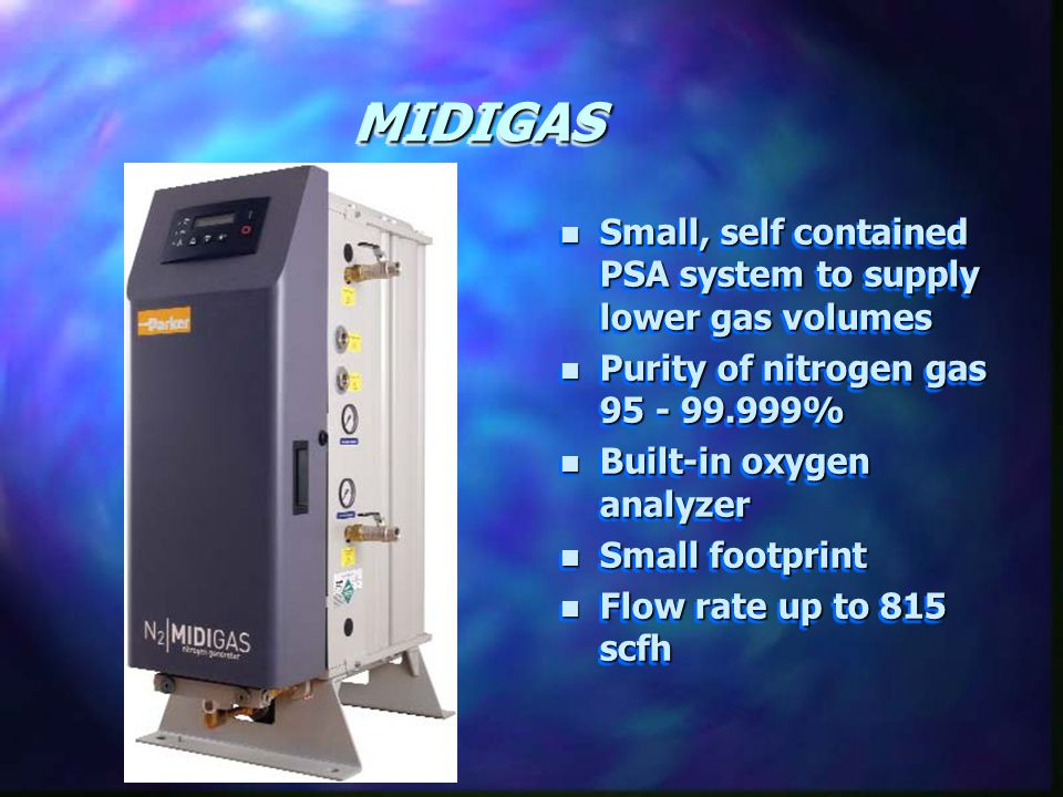 MIDIGAS Small, self contained PSA system to supply lower gas volumes