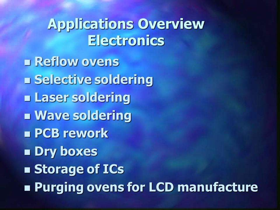 Applications Overview Electronics