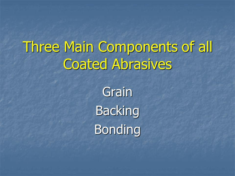 Three Main Components of all Coated Abrasives