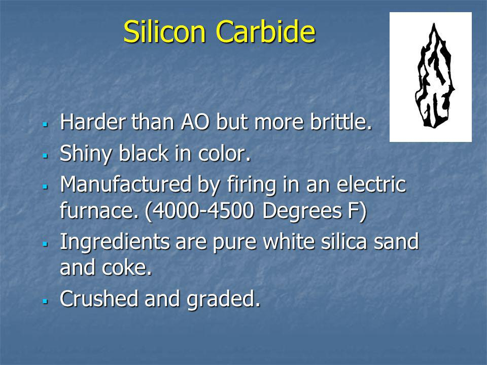 Silicon Carbide Harder than AO but more brittle. Shiny black in color.