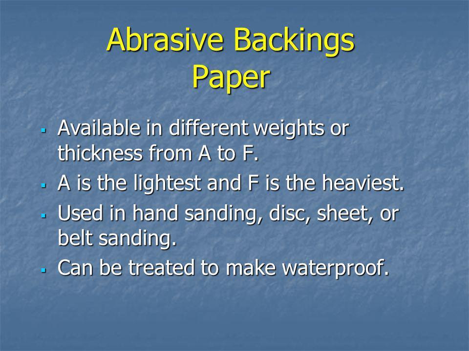 Abrasive Backings Paper