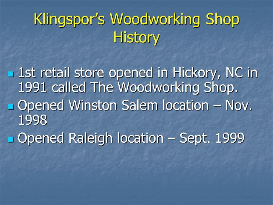 Klingspor's Woodworking Shop History