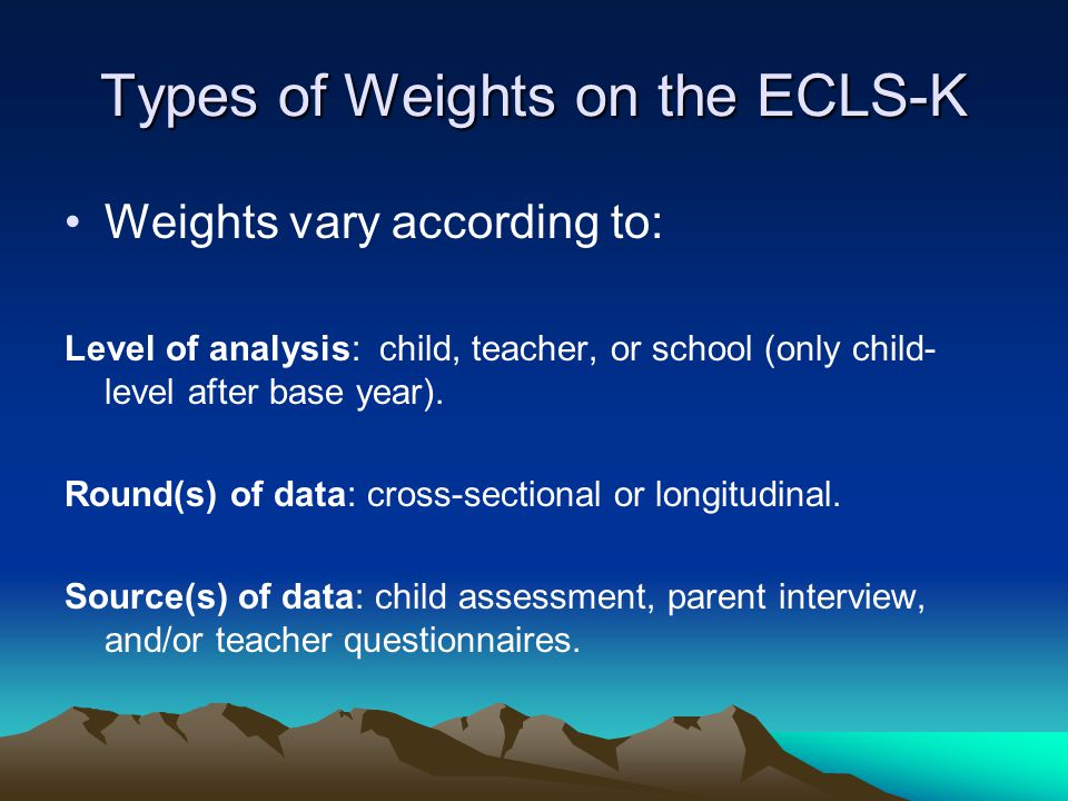 Types of Weights on the ECLS-K
