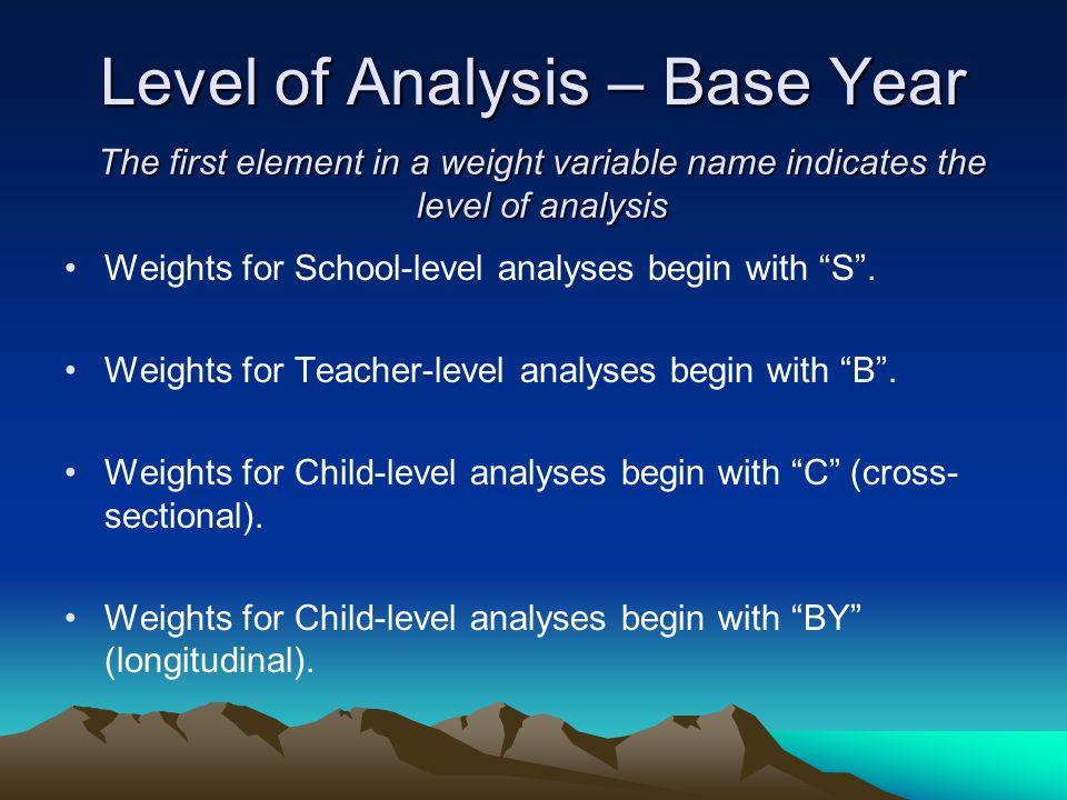 Level of Analysis – Base Year