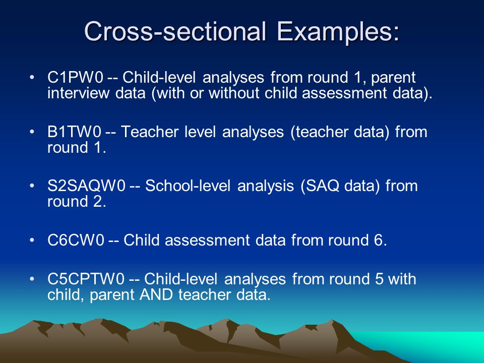 Cross-sectional Examples: