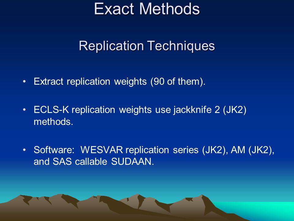 Exact Methods Replication Techniques