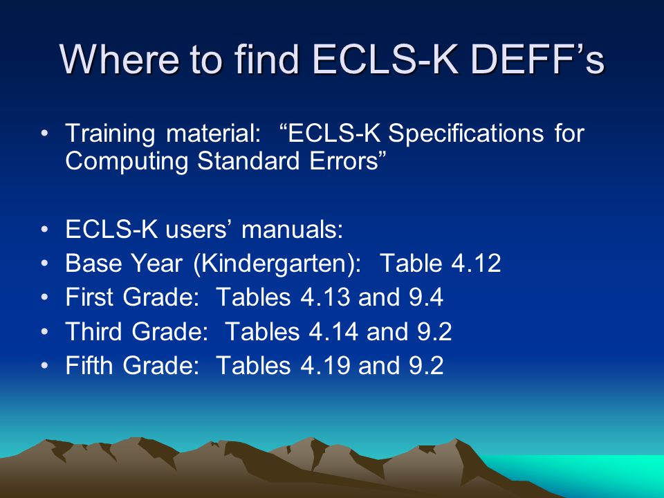 Where to find ECLS-K DEFF's