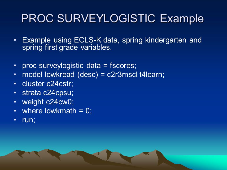 PROC SURVEYLOGISTIC Example