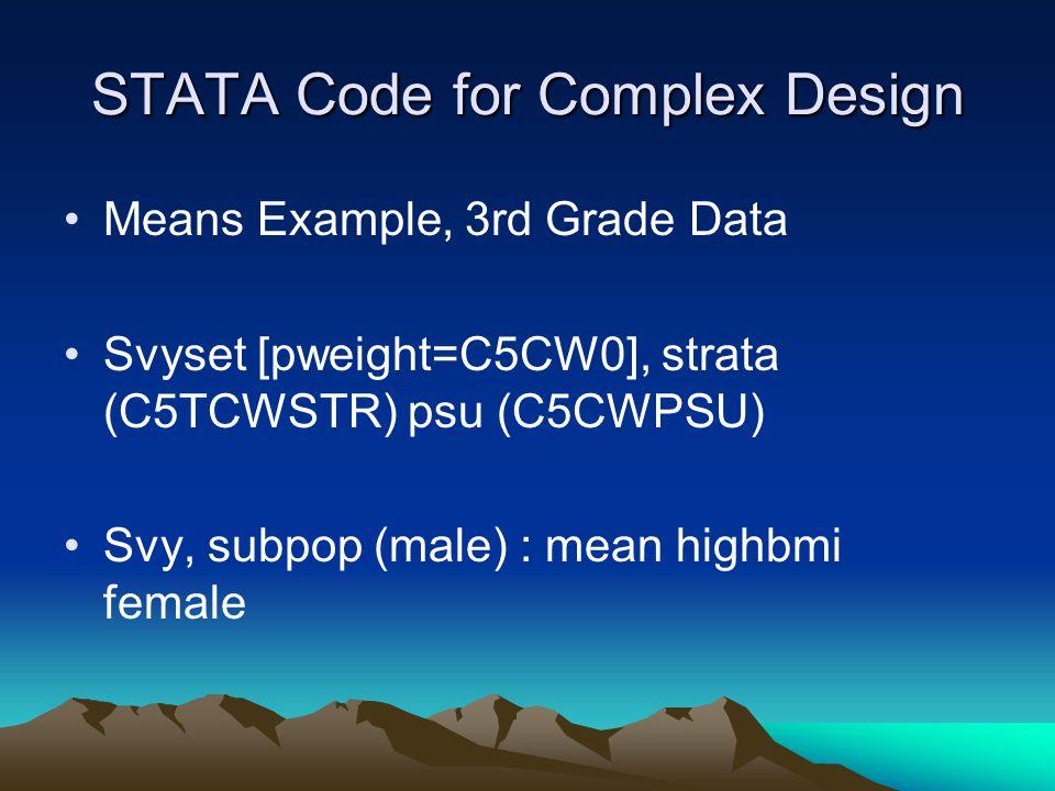 STATA Code for Complex Design