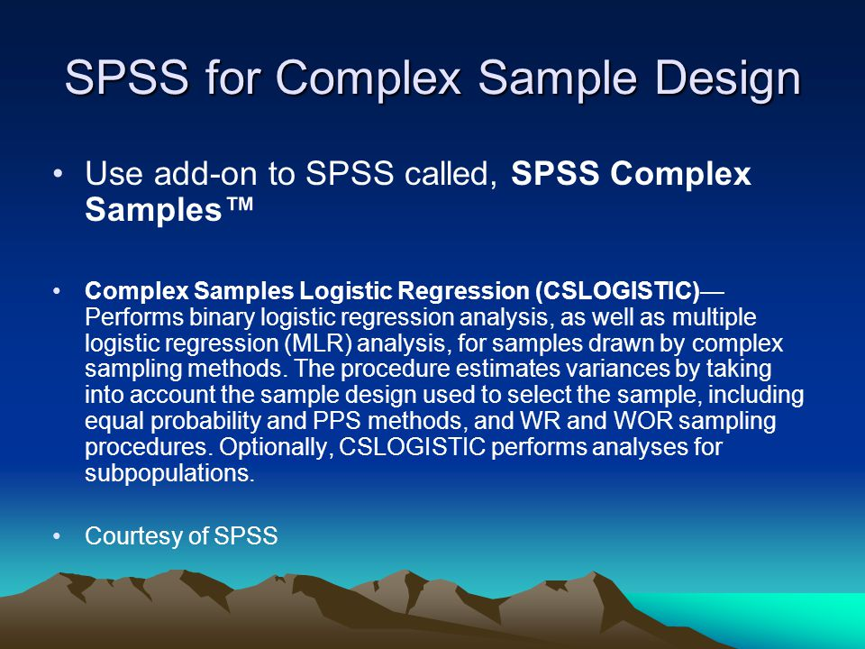 SPSS for Complex Sample Design