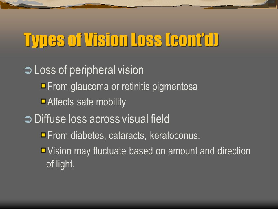 Types of Vision Loss (cont'd)