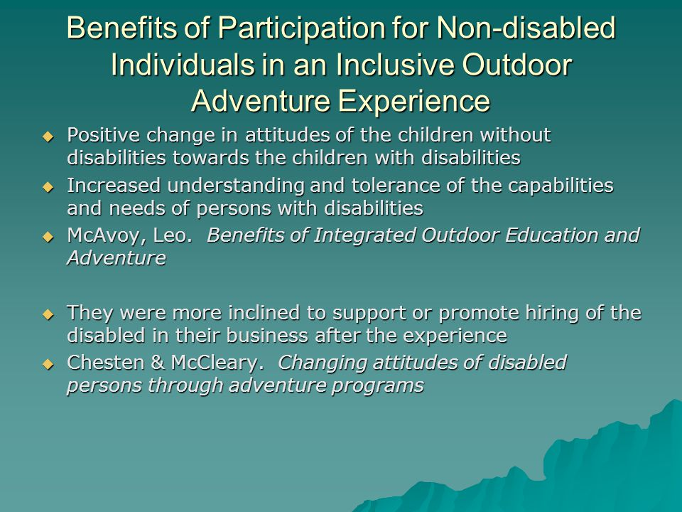 Benefits of Participation for Non-disabled Individuals in an Inclusive Outdoor Adventure Experience