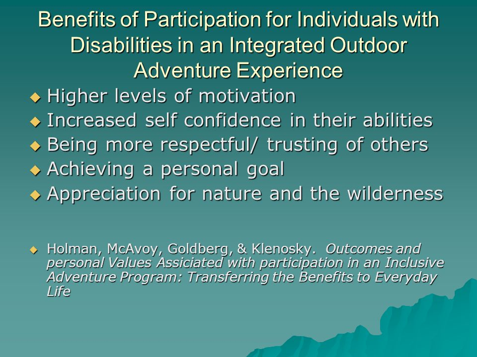 Benefits of Participation for Individuals with Disabilities in an Integrated Outdoor Adventure Experience