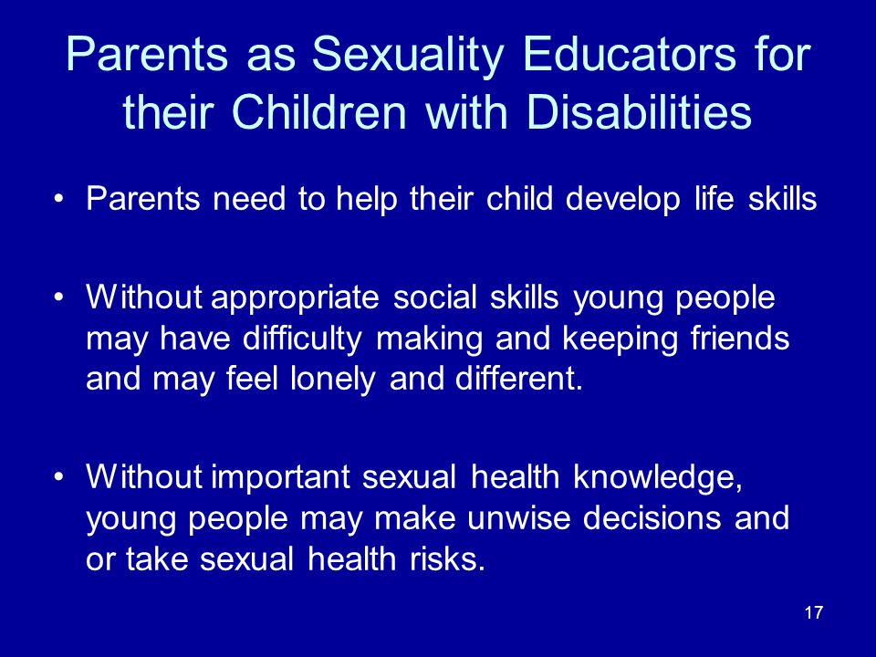 Parents as Sexuality Educators for their Children with Disabilities