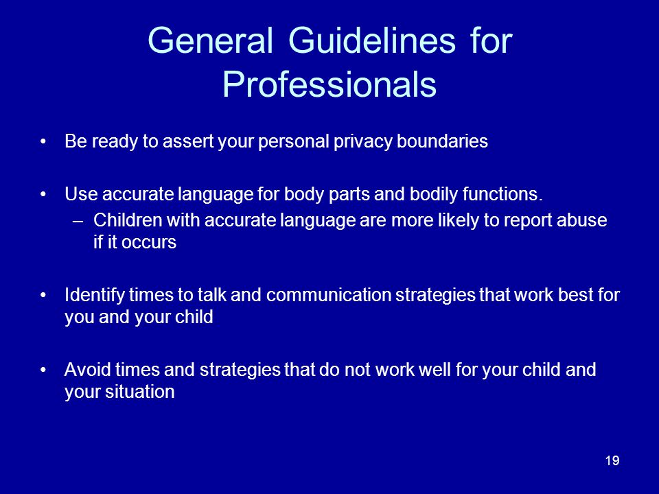 General Guidelines for Professionals
