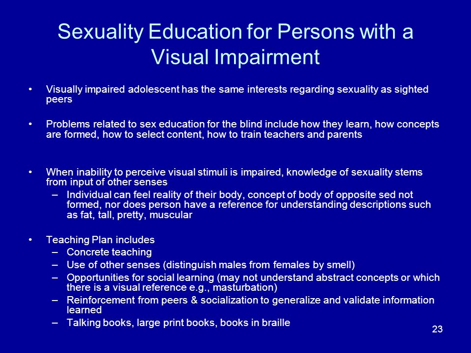 Sexuality Education for Persons with a Visual Impairment